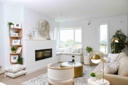 Sleek modern living room in Cobalt Beach Townhomes by Jubilations Beach