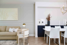 Cobalt beach classy modern showhome with white and navy design, gold accent decor. In Jensen Lakes.