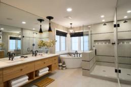 Sarasota Homes, luxury bathroom in Jensen Lakes. Homes for sale in lake community.