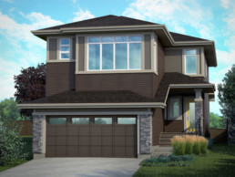 Brown siding with grey stone home. Daytona Everest showhome in Jensen Lakes Community St. Albert.