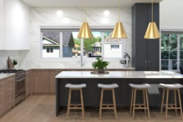 Long style kitchen with wood stool and golden light fixtures. Spacious modern design in Okanagan showhome by Kimberley homes in Jensen Lakes St. Albert.