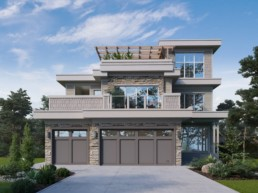 The Okanagan showhome by Kimberley homes. Multi level home with stone exterior and balconies.