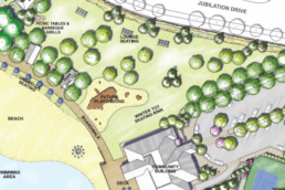 Landscaping plan for the Jubilations beach club lakeside amenities including playground