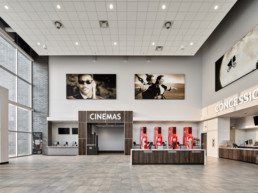 Interior view of Lanark landing cinema in Jensen Lakes, cinema and concession stand in lobby.