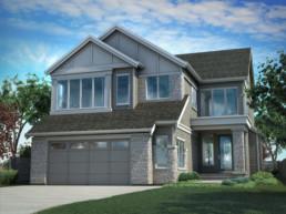 The Onyx exterior in Jensen Lakes St. Albert. Kanvi Homes.