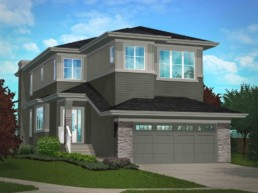 Pacesetter homes the Calypso showhome in St. Albert. Two storey home exterior.